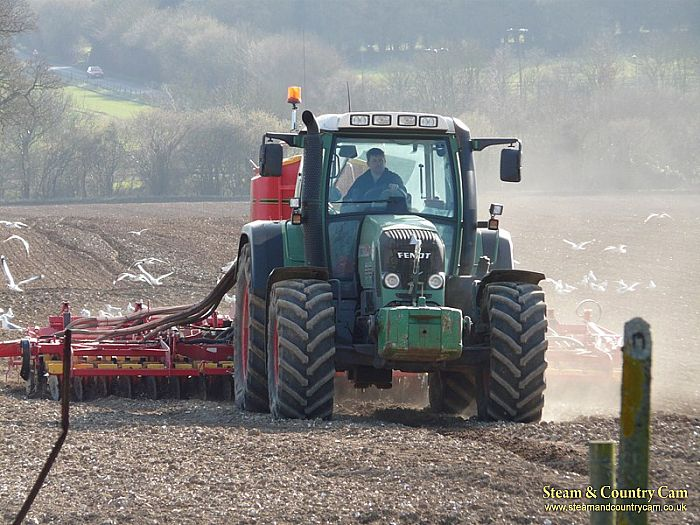 Tractor ploughing the fields