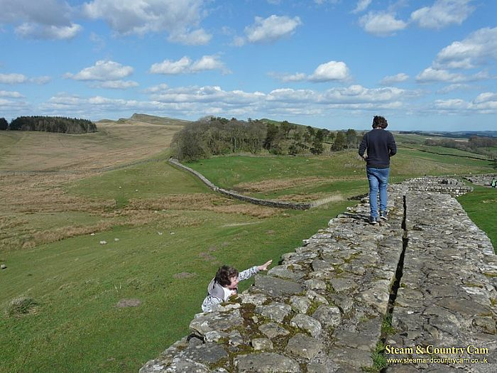 Our 2 teenage sons enjoying their time at Hadrian's Wall